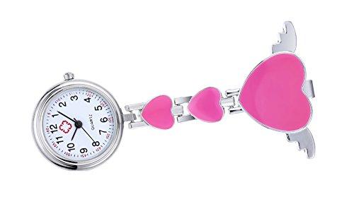 clip sul fob guardare per infermiere con angolo di cuore spilla ala appeso tasca orologio al quarzo rosa