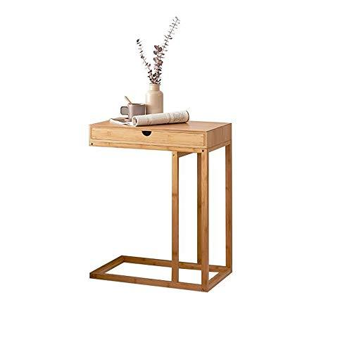 Jcnfa-Tische Bambus-Beistelltisch, U-Form Kaffee Snack Beistelltisch Nachttisch, Tragbare Arbeitsstation, Mit Schublade Laptop-Schreibtisch (Natur) (Color : Bamboo, Size : 21.65 * 13.77 * 26.96in)