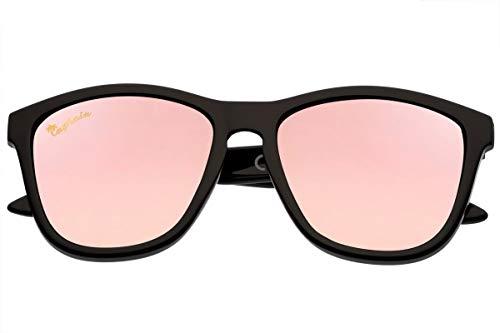 Capraia Durella Estilosas Gafas de Sol Ultra Ligeras TR90 Montura Negra Lentes Rosas Espejadas Polarizadas protección UV400 Hombres Mujeres