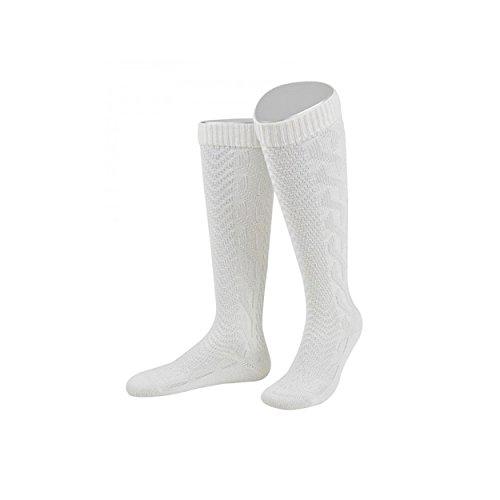 ALMBOCK Herren Trachten Socken weiß - Trachtenkniestrümpfe in Größe 39-47 - bayerische Tracht, Wiesn Strümpfe weiss