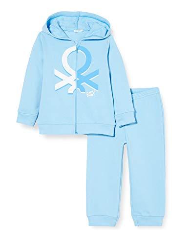 United Colors of Benetton Completo Felpa E Pantalone Conjunto de Ropa, Turquesa (Baltic Sea 1u8), 52 (Talla del Fabricante: 56) para Bebés