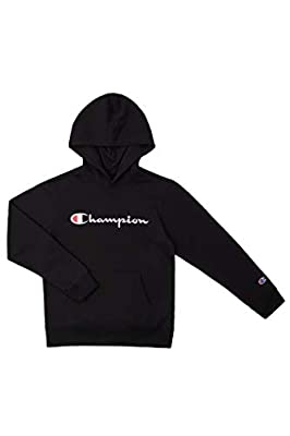 Champion Kids Clothes Sweatshirts Youth Heritage Fleece Pull On Hoody Sweatshirt with Hood (Heritage Black, Large)