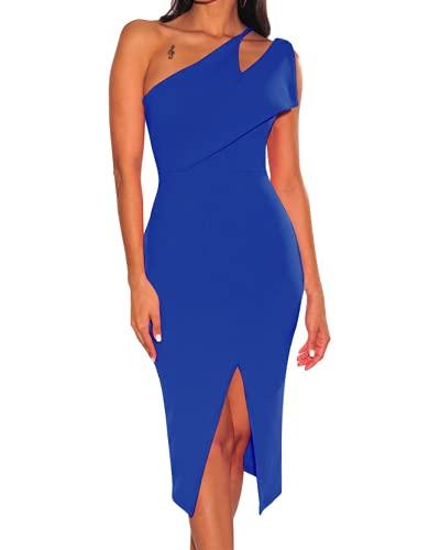 Vestidos Elegantes de Fiesta de cóctel de Color sólido con Abertura Alta sin Mangas con un Hombro para Mujer (M,Blue)