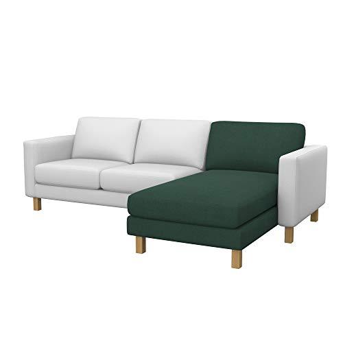 Soferia Ersatzbezug fur IKEA KARLSTAD Anbau Recamiere, Stoff Elegance Mineral, Grün