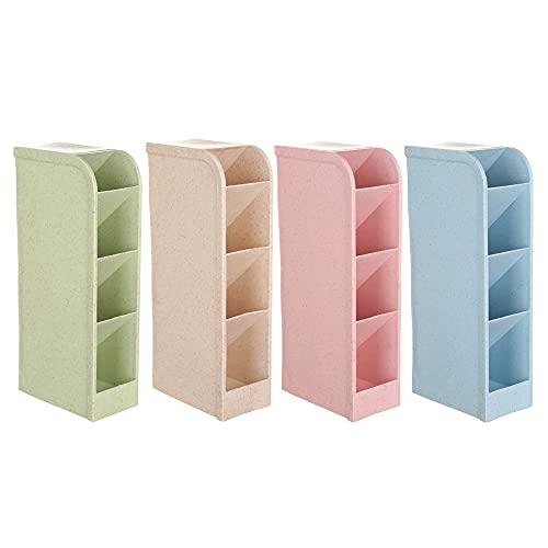 MOPOIN - Bote de lápices multifunción para escritorio, 4 colores, para casa, oficina, niños (verde + beige + azul + rosa)