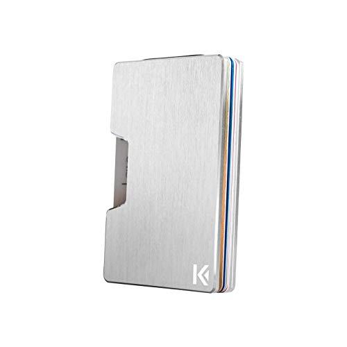 KARCAJ Classic - Cartera Tarjetero Minimalista con Protección Antirrobo RFID y NFC. Tarjetero Metálico para Tarjetas de Crédito y Billetes para Hombre y Mujer (Silver Edition)