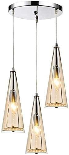 HTL Decoración Luz de Noche Vidrio Triple Colgante Lámpara Colgante Nordic E14 * 3 Lámpara Colgante de Techo Sencillez Moderna Lámpara Colgante Iluminación para Mesa de Cocina Pasillo Interior Ilumin
