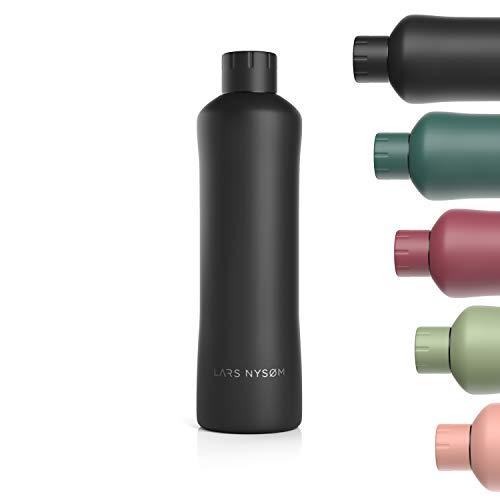LARS NYSØM Trinkflasche Edelstahl 1000ml   BPA-freie Isolierflasche 1 Liter   Auslaufsichere Wasserflasche für Sport, Fahrrad, Hund, Baby, Kinder   Thermosflasche