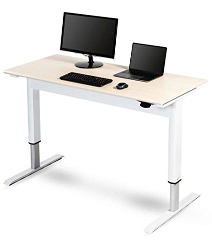 "Stand Up Desk Store Pneumatic Adjustable Height Standing Desk Computer Workstation (White Frame/Birch Top, 48"" Wide)"