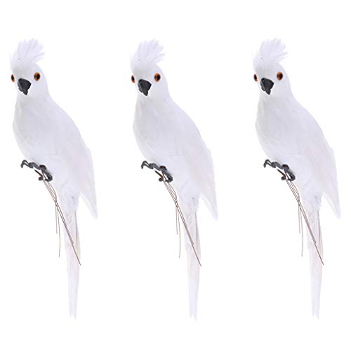 FLAMEER Figuras de Pájaros Realistas con Plumas Artificiales para Estatuas de Animales Adornos de Césped - 3 Piezas