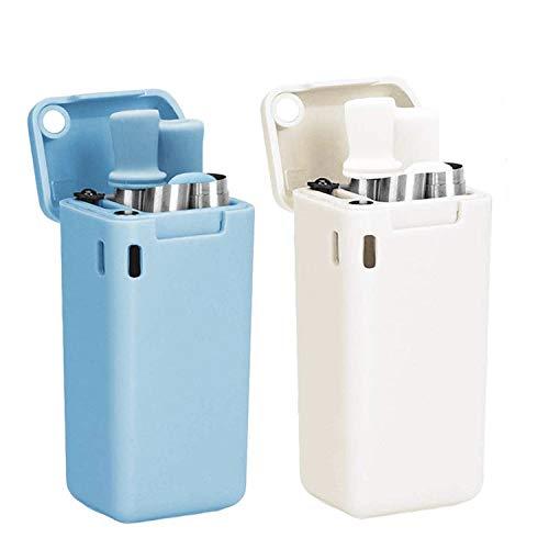 AVANA Wiederverwendbare Edelstahl Strohhalme 2er Set Faltbare Silikon Trinkhalme BPA-Frei Umweltfreundlich Zusammenklappbar mit Reinigungsbürste und Magnetbox (Weiß & Hellblau)