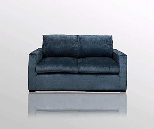 Amaris Elements Divano in velluto 'Louis' con rivestimento in tessuto, misura piccola, colore blu scuro, lunghezza 160 cm, divano a 2 posti