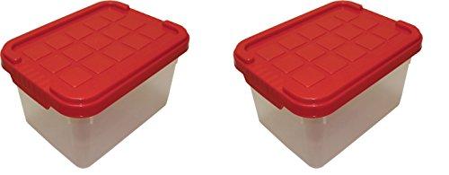 ARTECSIS 2 x Aufbewahrungsboxen aus Plastik, 19 x 14,5 x 11,5 cm, mit Deckel, Eurobox, stapelbar, 2L (2, XS)