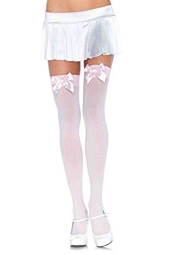 Leg Avenue Women's Satin Bow Accent Thigh Highs, Lt. Pink, O/S