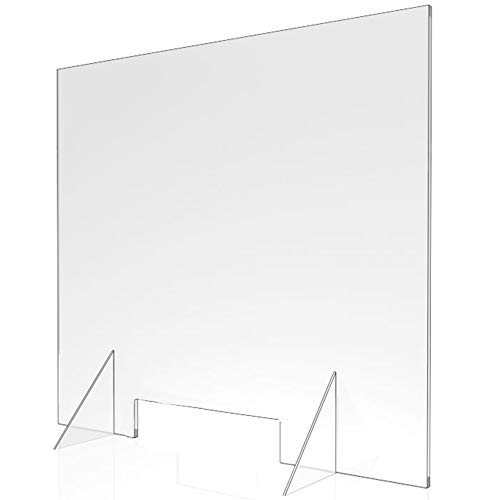 Sneeze Guard - Clear Acrylic Divider Protection Barrier Shield Checkout Counter Desk (30' W x 30' T 3/16' thk)