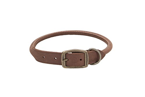 """Coastal Pet Products Circle T Rustic Leather Round Dog Collar, 1"""" x 24"""", Chocolate"""