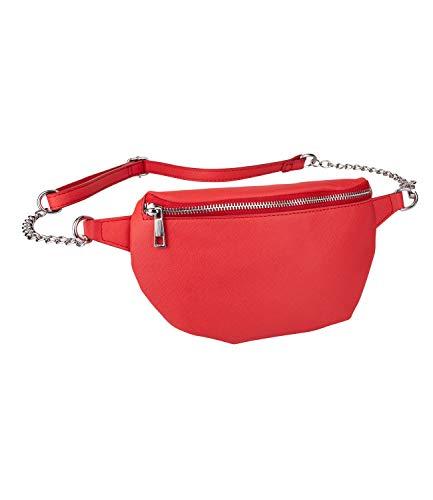 SIX Damen Tasche, Bauchtasche in knalligem Rot mit silberner Kette und verstellbarem Verschluss, Lederoptik, veganes Leder (726-699)