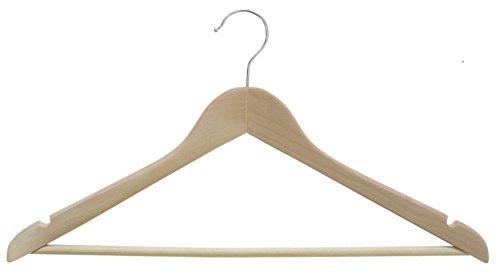 Hagspiel Lot de 100 cintres en bois laqué naturel avec chevalet et encoches avec crochet rotatif nickelé