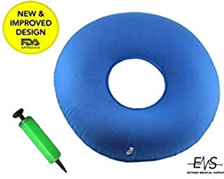 Premium Inflatable Donut Cushion Expands Up to 15 inches Comfortable for Hemorrhoid, Back and Tailbone Pain Relief. Medical Donut Cushion Ideal for Coccyx Pain, Bedsores, Child Birth &Pregnancy (Blue)