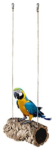 Coruga como columpio para pájaros, tubo de corcho natural, para balancear, jugar, mordisquear y crujiente, corteza de corcho pura desinfectada, mosquetón de acero inoxidable