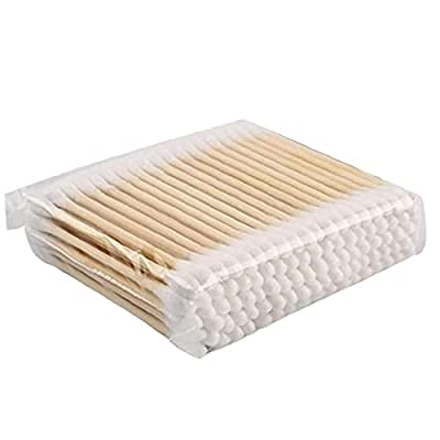 100PCS Bamboo Cotton Buds Biodegradable Double-Ended Cotton Swab Stick for Makeup Travel Ears Cleaning