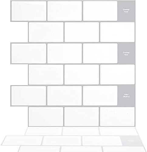 Tic Tac Tiles 30x30cm, 5 Feuille de Brique 3D Carrelage Adhésif Stickers Muraux Métro Carrelage Crédence Adhésive Cuisine Stickers Muraux Dalles Adhésifs Salle de Bains - Métro Blanc (Bordure Gris)