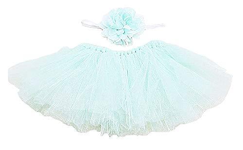 Falda de Tul para bebé - niña - Flor - Banda para el Pelo - Foto - Traje - Verde - Talla única - Idea de Regalo Original