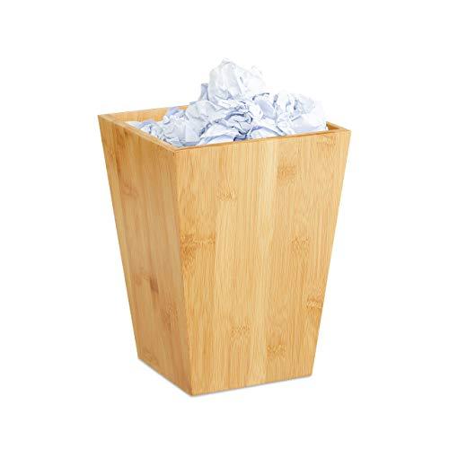 Relaxdays Papierkorb Bambus, eckig, 6 l, ohne Deckel, für Büro, Kinderzimmer, Bad, Mülleimer HxBxT: 27x20x20cm, Natur