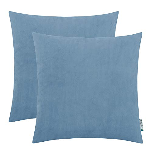 HWY 50 Decorative Square Throw Pillow Covers Soft Comfortable Velvet Solid Light Blue Pillows Covers Set Cushion Cases for Couch Sofa Living Room 20 x 20 inch Pack of 2, Home Decor