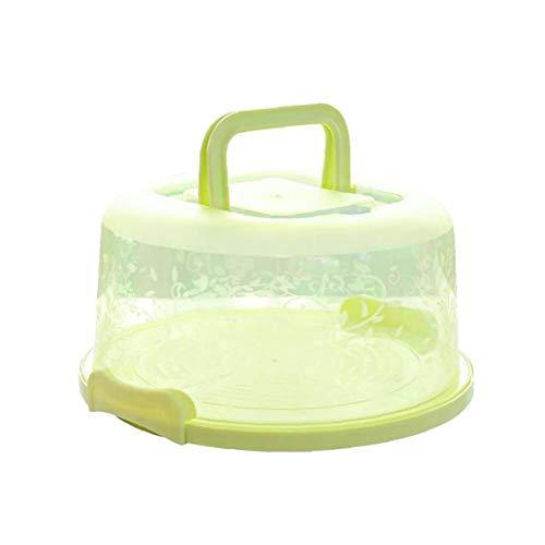 Mango portátil de la Torta de la Caja de Transporte de contenedores Pie de Almacenamiento de la Magdalena Verde Redondo Transporte Tapa del Clip de Bloqueo
