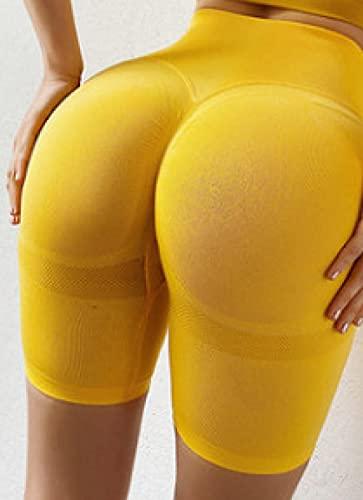 Pantalones de Yoga de Cintura Alta Las Mujeres, Pantalones cortos de cintura alta de secado rápido, pantalones deportivos de cadera, -yellow_XL, Cintura Alta Yoga Leggings Pantalón Moda Sin Costuras