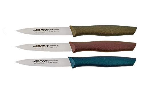 Arcos - Juego de 3 cuchillos de oficina (10 cm), color rojo, dorado y azul