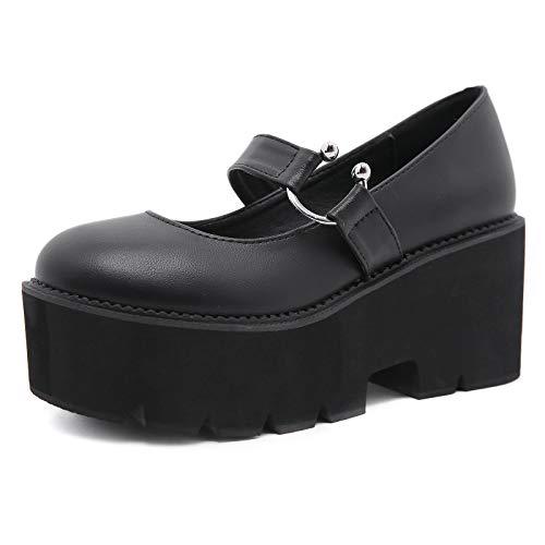 Charmstep Zapatos Mary Jane con Plataforma para Mujer, Zapatos Lolita Góticos con Tacón Ancho con Correa De Punta Redonda Retro,Negro,38 EU