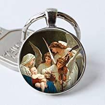 Llavero con diseño de la Virgen y los Ángeles