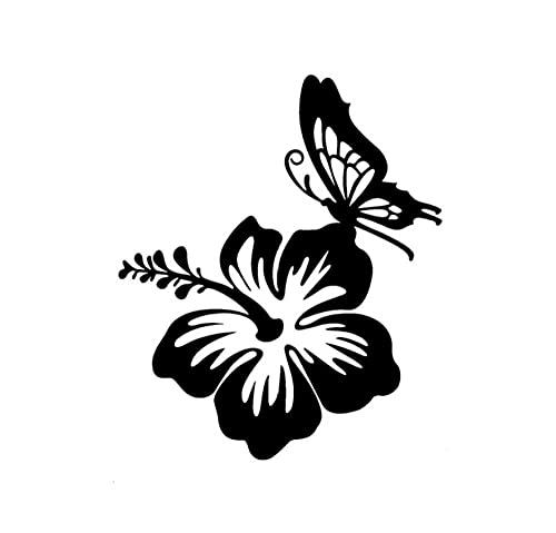 MDGCYDR Pegatinas Coche 14 Cm * 12 Cm Etiqueta Engomada del Coche Flor De Hibisco Hawaiano Accesorios De Mariposa Calcomanía De Vinilo Reflectante Negro/Plata,