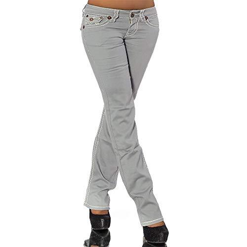 Diva-Jeans Damen Bootcut Jeans Hose Damenjeans Hüftjeans Gerades Bein Dicke Naht Nähte H922, Farbe: Grau, Größe: 38 (M)