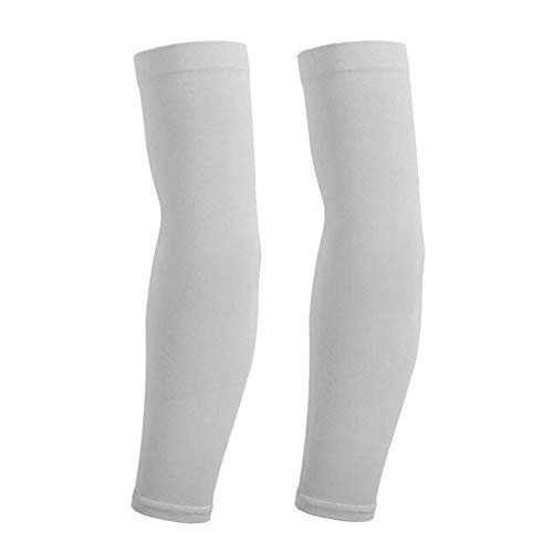 JS One Unisex Outdoor Activity UV Sun Protection Breathable Arm Warmer Sleeve Covers - (2 Pack) Gris