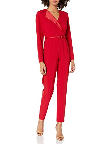 Adrianna Papell Women's Long Sleeve Tapered Jumpsuit with Belted Waist, Scarlet, 16