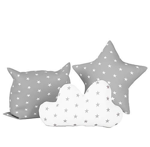 Tres cojines suaves para bebés, niños, cojines de cama, carpas, almohadas Elfique de Klara Brist