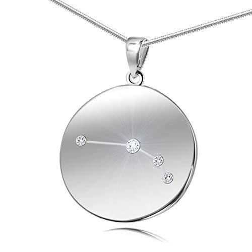 LillyMarie Damen Hals-Silberkette Sterling-Silber 925 Swarovski Elements Sternzeichen-Anhänger Widder Längen-verstellbar Geschenkverpackung Geschenk zum Muttertag