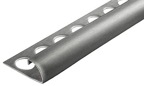 Fuchs Fliesenschiene Premium 10 mm Viertelkreis aus V2A Edelstahl in Gebürstet modernes Fliesenprofil Edelstahlschiene 1 x 2,5 m