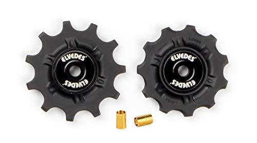 Elvedes 1 Kit de Galets de derailleur 2 x 11 Dents roulements annulaires INOX INCL. Bushing ABEC 5 Cycle Mixte Adulte, Noir, 9v / 10v / 11v
