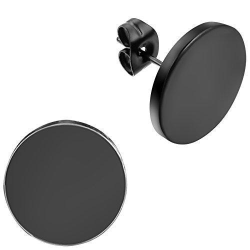 Flongo Orecchini Rotondi a Bottone Acciaio Inossidabile Colore Nero da Uomo Donna 3-14MM Piercing per Orecchini