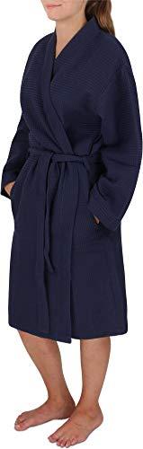 normani Damen dünner Bademantel aus 100% Baumwolle - Langer Kimono mit Waffeloptik - Waffelbademantel für Frauen Farbe Navy Größe L