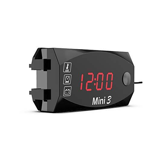 DEI 3 en 1 Digital voltímetror Reloj Electrónico Termómetro para Moto,Pantalla LED Digital a Prueba de Agua para Todas Las Motocicletas de 12 V