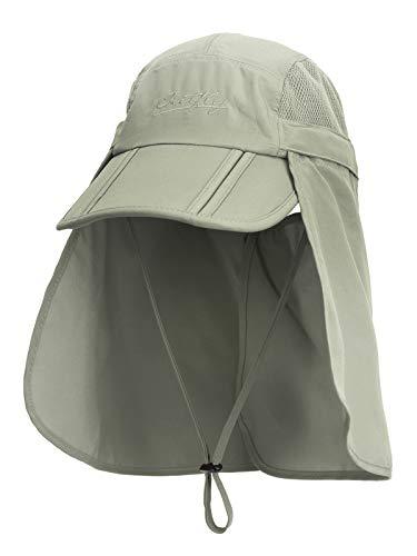 Unisex Safari Cap mit extra langem Nackenschutz Anti UV Abklappbar Baseball Mütze für Camping Outdoor - Olive Grün