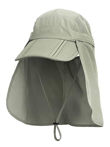 Unisexo Safari Cap con Protector de Cuello Anti UV Abatible Gorra de...