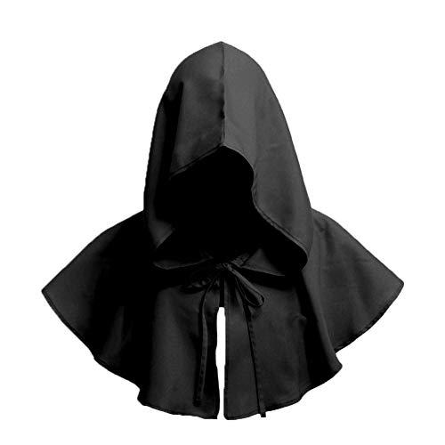 Naisidier Unisex Jahrgang Gugel Halloween-Kostüm Zubehör Halloween Cosplay mit Kapuze Cape Zubehör Mittelalterliche Retro-Haube für Partei 1pc Schwarz