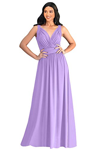 KOH KOH Petite Womens Long Sleeveless Flowy Bridesmaids Cocktail Party Evening Formal Sexy Summer Wedding Guest Ball Prom Gown Gowns Maxi Dress Dresses, Lilac Light Purple S 4-6 (1)