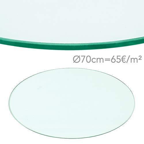 Rapid Teck® 65€/m² Glasplatte Rund Durchm. 700 mm Glastisch Tischplatte aus gehärtetem Glas Tisch Glasscheibe 8mm Dick